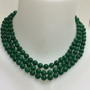 Green jade stones hand tied necklace new